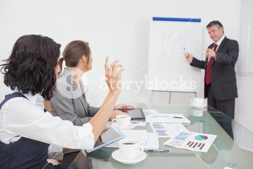 Businesswoman wanting to ask a question