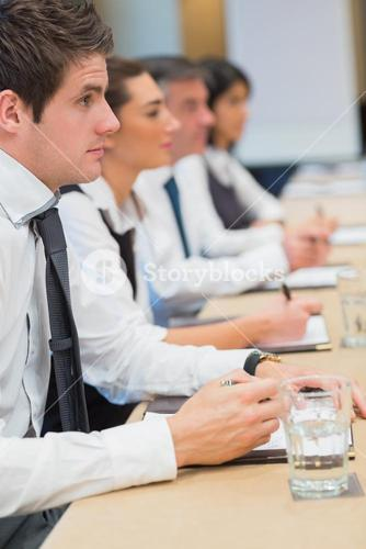 Businessman listening intently