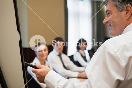 Man giving business presentation