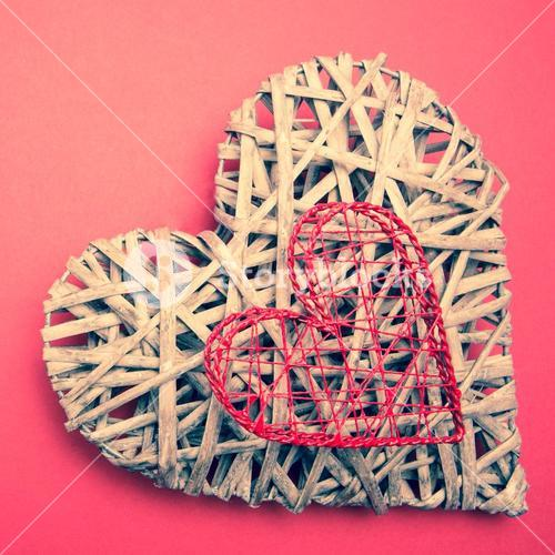 Wicker heart ornament with heart shaped box