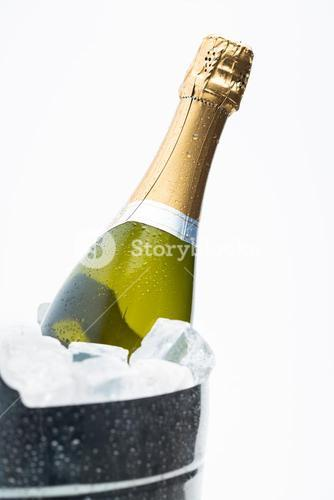 Champagne cooling in ice bucket