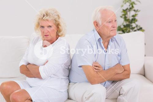 Elderly woman being angry against a man