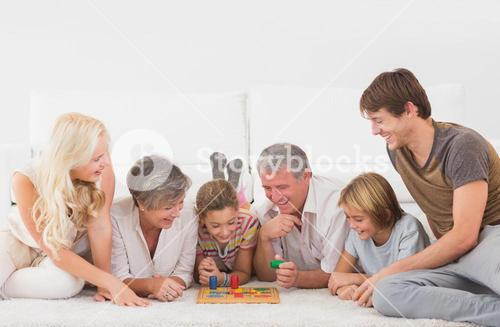Family playing board games