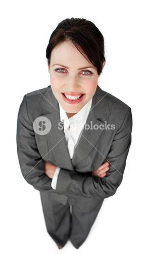 Radiant businesswoman giving instructions