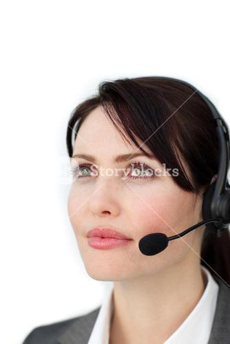 Selfassured businesswoman with headset