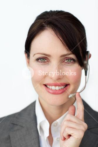 Business woman focused on a phone