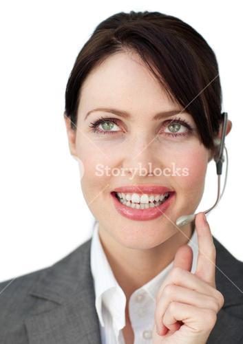 Charming businesswoman with headset