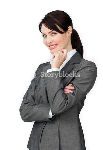 Cute Businesswoman with headset on working
