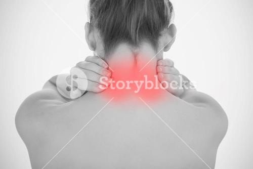 Woman touching highlighted neck pain