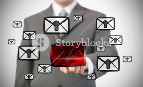Man selecting red message symbol from other locked ones