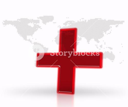 Digital red medical cross