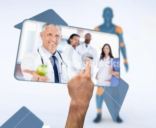 Hand selecting image of doctor holding apple in digital interface