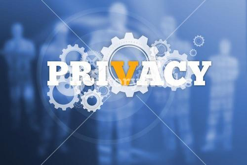 Privacy text with wheels and cogs