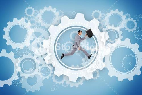 Businessman running holding briefcase with wheels and cogs graphic