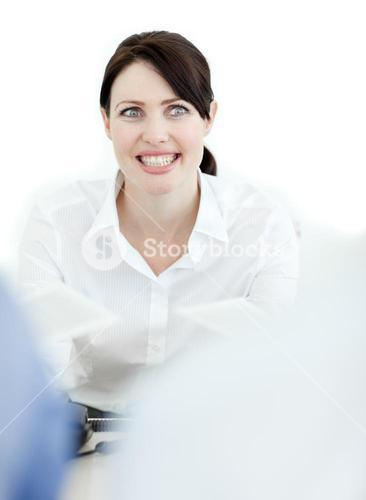 Smiling businesswoman isolated on a white background