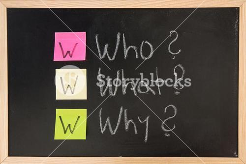 Blackboard with question words
