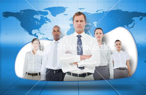 Business team on blue world map background