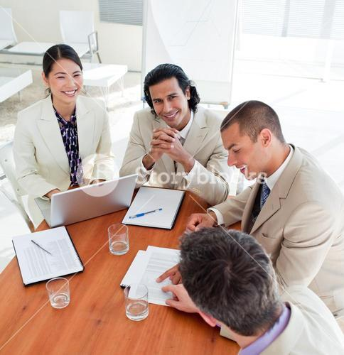 Assertive business coworkers in a meeting