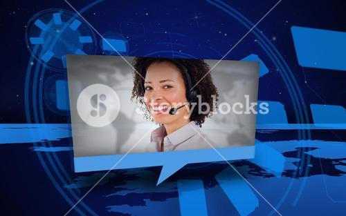 Digital speech box showing woman in headset coming from world map