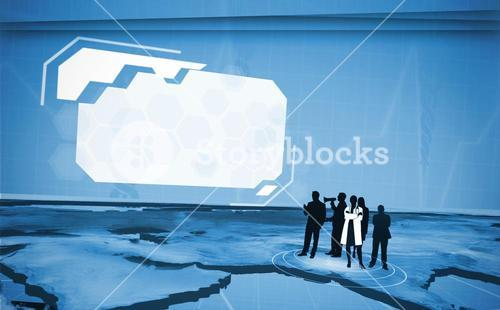Figures of professionals looking at blank screen