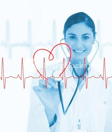 Doctor holding stethoscope up to ECG line
