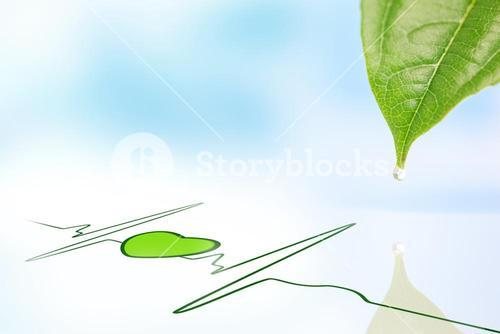 Dew drop falling from leaf onto green ECG line with heart symbol
