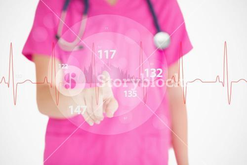 Nurse in pink scrubs touching red ECG line with figures