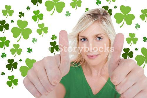 Girl in green tshirt giving thumbs up