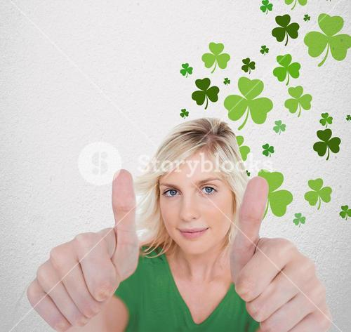 Girl in green tshirt giving thumbs up with copy space