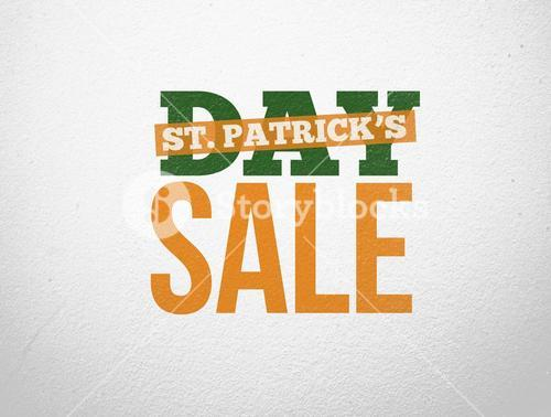 Bold text advertisement for st patricks day sale