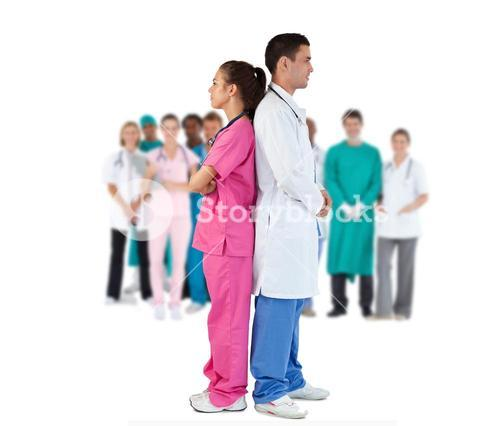 Doctor and nurse standing back-to-back