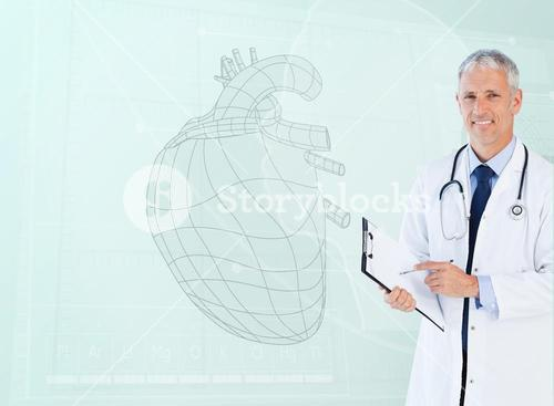 Portrait of a cardiologist smiling with a heart sketch