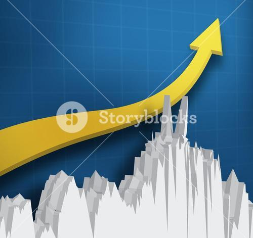 Digital yellow arrow with a graph