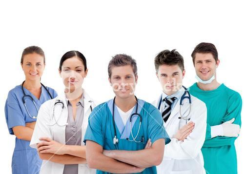 Group of hospital workers standing in line