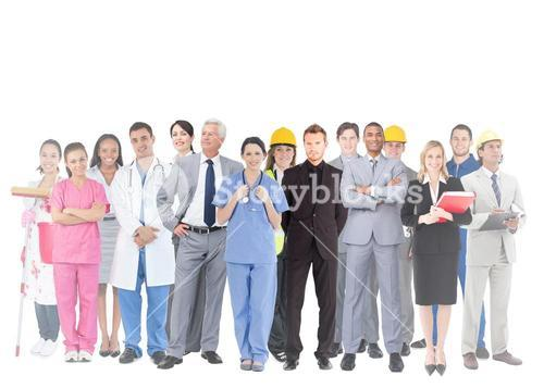 Smiling group of people with different jobs