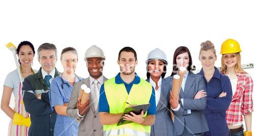 Group of smiling people with different jobs standing in line