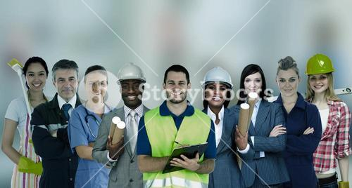 Smiling people with different jobs