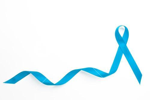 Blue awareness ribbon with trail