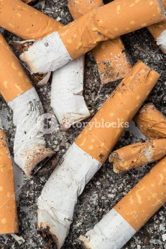 Close up of cigarette butts