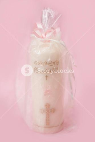 Christening candle for a girl