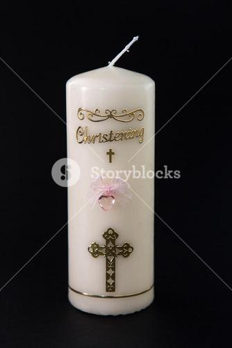 White christening candle with pink detail
