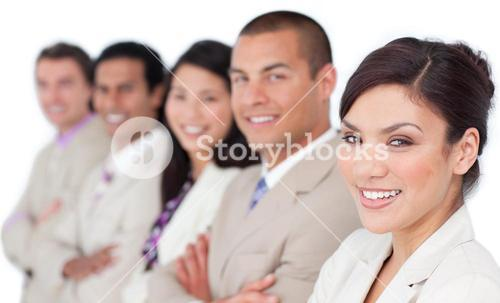 Presentation of an attractive business team