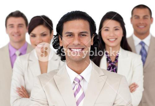 Presentation of a joyful business team