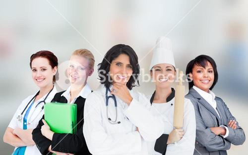 Smiling female workers