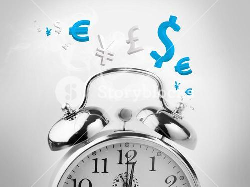 Time is money in blue