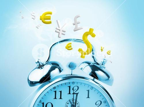 Time is money in blue with yellow currency