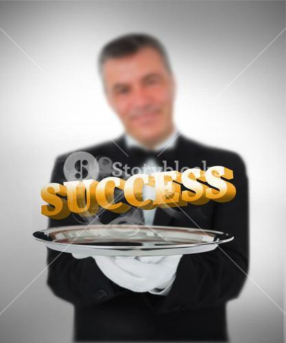 Waiter offering success