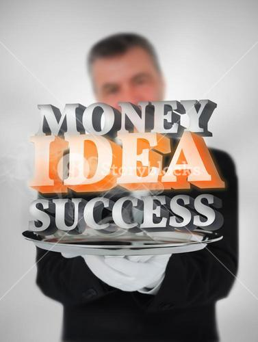 Waiter offering success money and ideas