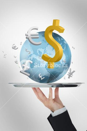 Waiter presenting the world and its currencies