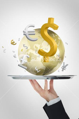 Waiter presenting the world and its currencies in yellow